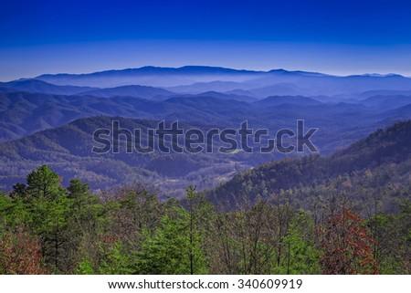 Late Fall, Great Smoky Mountains National Park, Tennessee/ North Carolina, USA - stock photo
