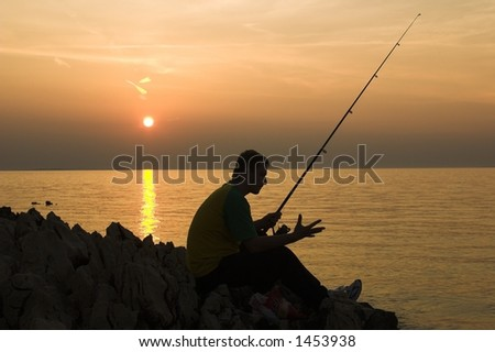 late fishing - stock photo