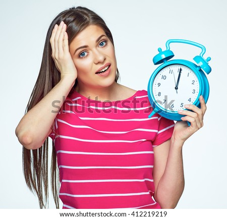 Late for work place to complete your career. Isolated concept portrait of woman with watch. - stock photo