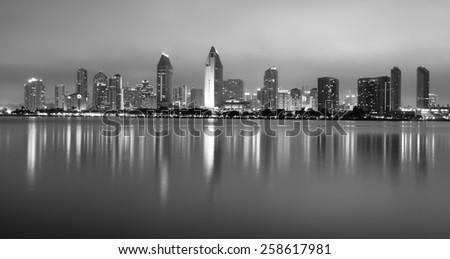 Late Night Coronado San Diego Bay Downtown City Skyline - stock photo