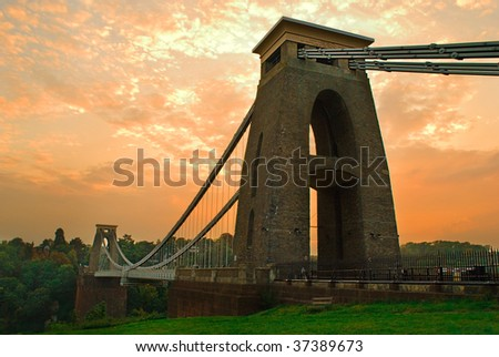 Late September evening at the Clifton suspension bridge. - stock photo