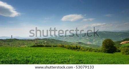 Late spring landscape with far away village in region Molise (center Italy)