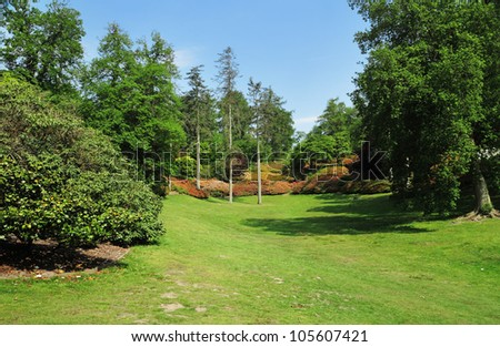 Late Spring scene in an English park - stock photo