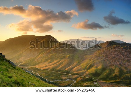 Late summer evening light over the Ennerdale Valley towards High Crag and Haystacks in the English Lake District