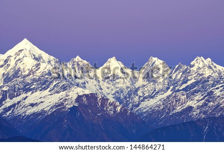 """Late sunset over Mount """" Panchachuli """" in Indian Himalaya - stock photo"""