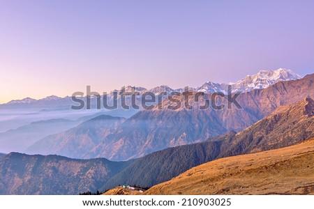 late sunset scene over high Himalayan landscape - stock photo