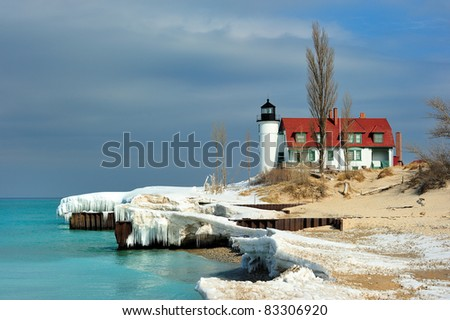 Late Winter thaw at Point Betsie Lighthouse, Lower Michigan - stock photo