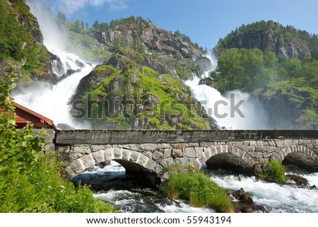 Latefossen (Latefoss) - one of the biggest waterfalls in Norway, Scandinavia, Europe - stock photo