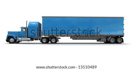 Lateral view of a big blue trailer truck against white background