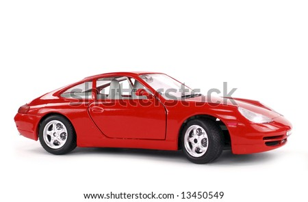 Lateral view of a great car isolated on white. - stock photo