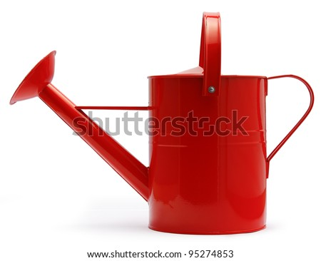 lateral view of red watering can - stock photo