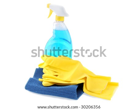 Latex gloves, glass washing liquid and microfiber cloth isolated - stock photo