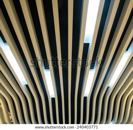 lath ceiling and down light  - stock photo