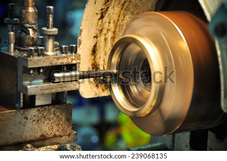 lathe machine in a workshop, Part of the lathe. Lathe machine is operation on the work shop. - stock photo