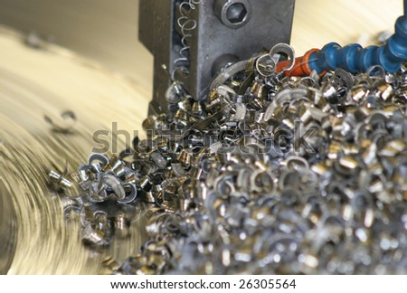 Lathe Turning Stainless Steel - stock photo