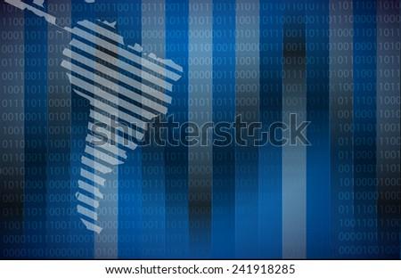 latin america map illustration design over a binary background - stock photo