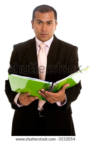 Latin American business man with a green notebook over a white background