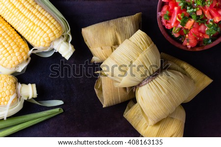 Latin American food. Traditional homemade humitas of corn. Top view - stock photo
