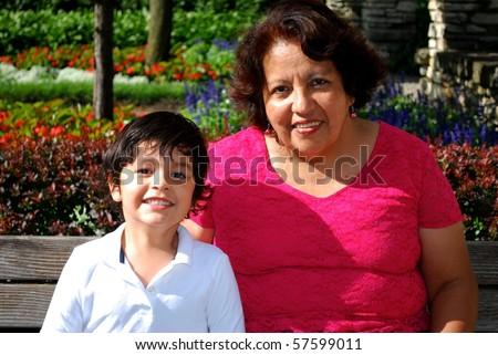 Latin American Grandmother and Grandson - stock photo