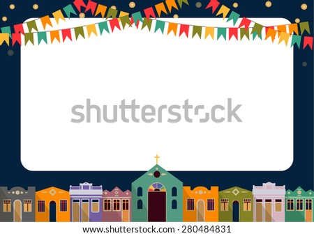 Latin American holiday, the June party of Brazil, bright night the background with colonial houses, church, lights and colored flags and place for the recording form - stock photo