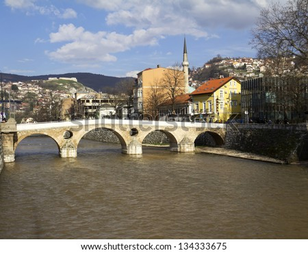 Latin Bridge on Miljacka river in Sarajevo the capital city of Bosnia and Herzegovina - stock photo