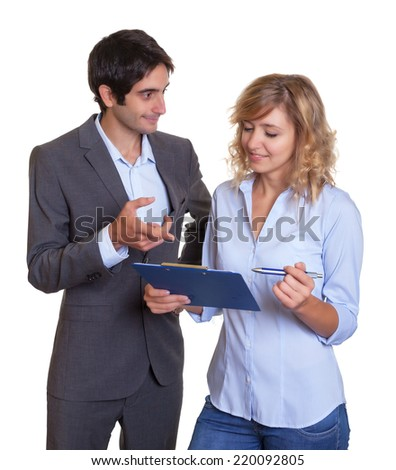 Latin business team in discussion - stock photo