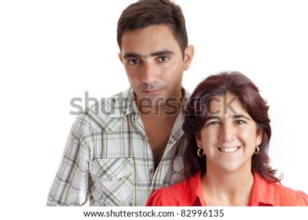 Latin couple isolated on a white background - stock photo