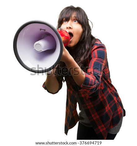 latin girl shouting with megaphone