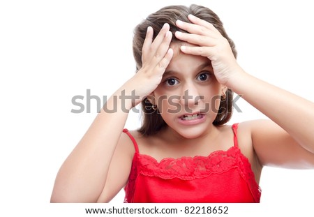 Latin girl with an angry and desperate look isolated on a white background - stock photo