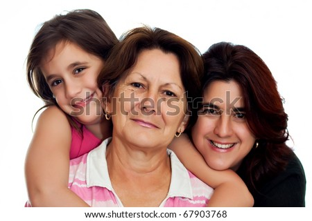 Latin grandmother, daughter and daughter smiling on a white background - stock photo