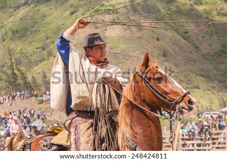 Latin Indigenous Cowboy Riding A Horse And Throws A Lasso, South America  - stock photo