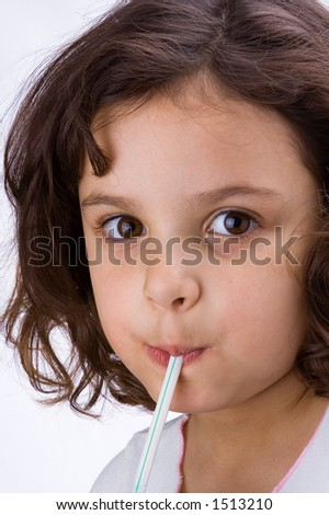 Latin kid in white background
