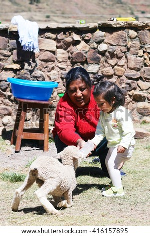 Latin kid with her mom giving to drink to a lamb