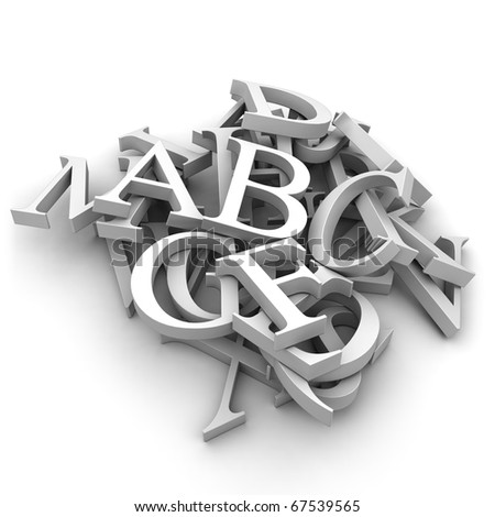 Latin letters poured into a heap, isolated on a white background - stock photo