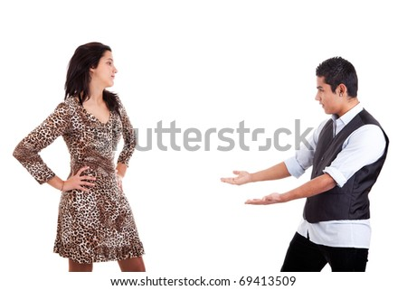 Latin man to extend his arms to embrace his beloved, isolated on white, studio shot - stock photo