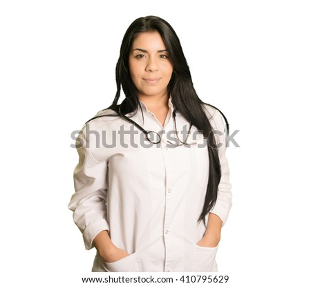 Latin medic woman isolated - stock photo