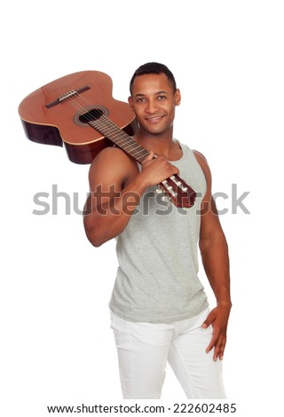 Latin men with a guitar isolated on a white background - stock photo