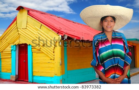 Latin mexican hispanic woman with sombrero and poncho in colorful Mexico house [ photo-illustration ]