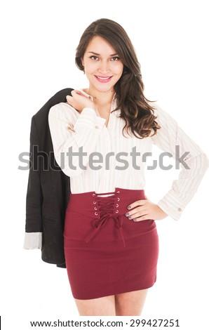 latin pretty elegant girl hoding jacket over her shoulder isolated on white - stock photo