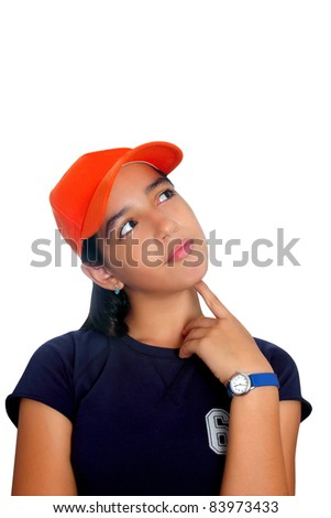 Latin teen girl hispanic ethnicity pensive girl with orange cap isolated on white