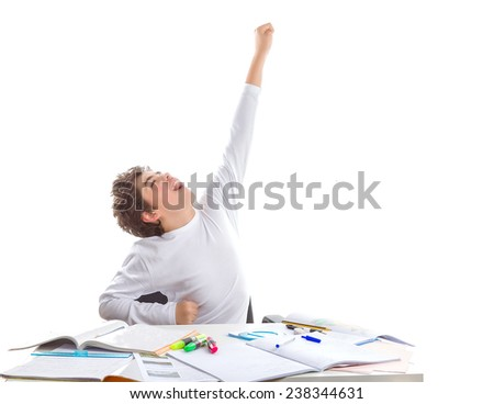 Latin Teenager boy sitting while doing homework poses as a superhero going to fly away with left arm high towards the sky in front of blank book - stock photo