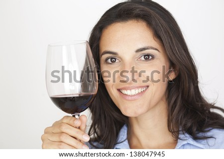 latin woman with red wine