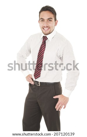 latin young man wearing red tie with hand on hip isolated on white