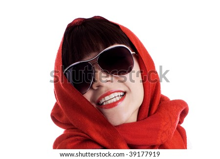 Latina fashion model model in a red scarf and sunglasses