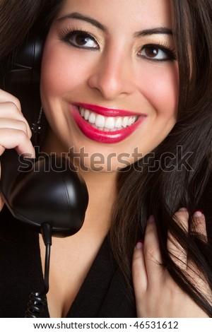 Latina Phone Woman - stock photo