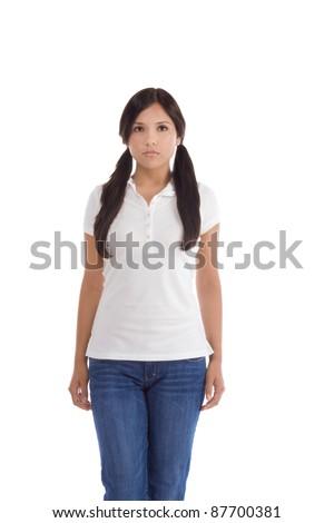 Latina teenage girl female student wearing uniform like outfit - stock photo
