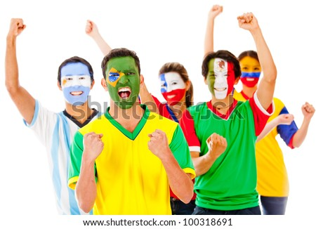 Latinamerican group celebrating with arms up - isolated over a white background - stock photo