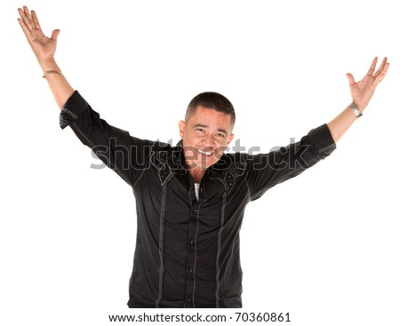 Latino man smiling with raised arms on white background - stock photo