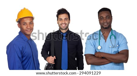 Latino men of different professions isolated on white background - stock photo