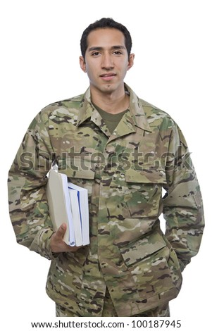 Latino Military Man with School Books